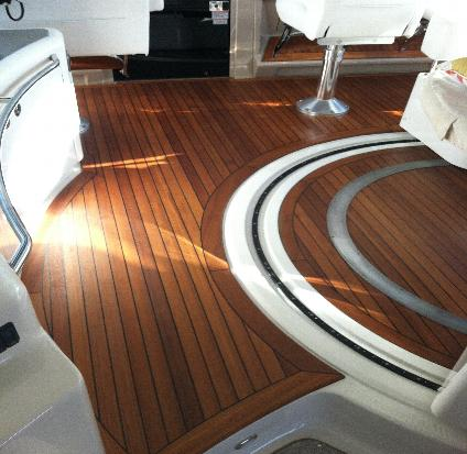 Here Is An Example Of A Teak Deck That Has Been Sanded Smooth And Saturated  With Teak Oil.